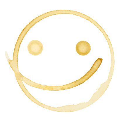 Anthropomorphic Smiley Face「Happy Coffee Stain Isolated on a Pure White Background」:スマホ壁紙(17)