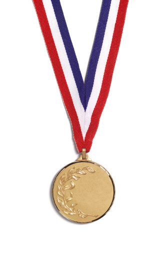 Medal「A medal with a laurel branch on a striped ribbon」:スマホ壁紙(3)