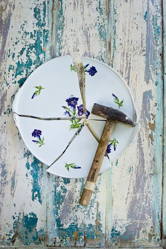 Gentian「Plate, floral design, gentian, broken, hammer」:スマホ壁紙(13)