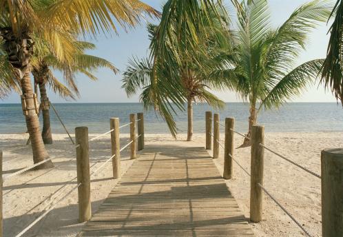 Wooden Post「USA, Florida, Key West, boardwalk leading toward ocean」:スマホ壁紙(2)