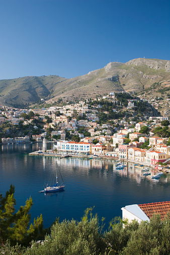 Aegean Sea「View over the harbour from hillside, Gialos, Symi」:スマホ壁紙(18)