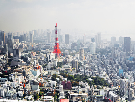 Tokyo Tower「View over Tokyo with Tokyo tower」:スマホ壁紙(12)