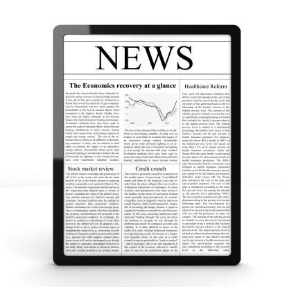 英字「タブレット PC でニュース」:スマホ壁紙(1)