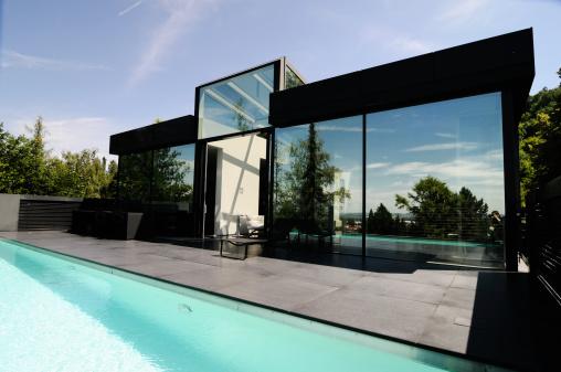 Postmodern「pool and modern granite home」:スマホ壁紙(3)
