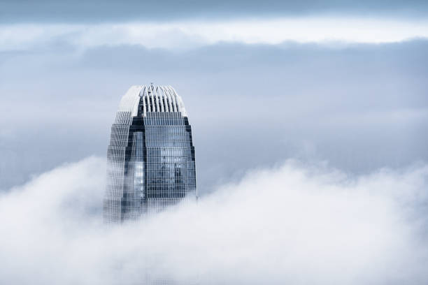 View of a very foggy Hong Kong:スマホ壁紙(壁紙.com)