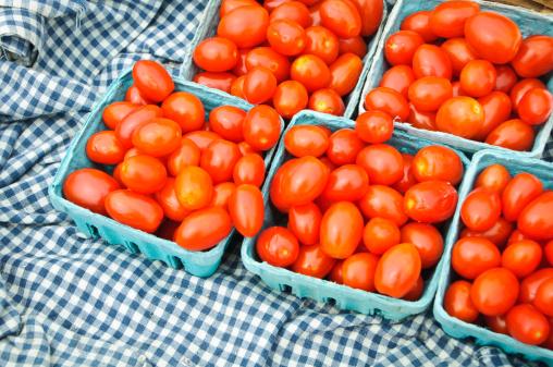 ギンガムチェック「グレープトマトにブルーのギンガム」:スマホ壁紙(16)
