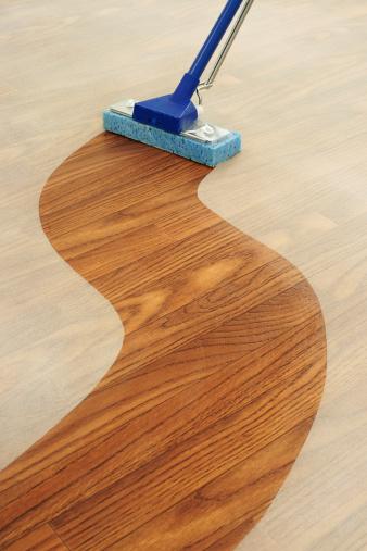 Unhygienic「Sponge Mop Cleaning a Path Across  Dusty Floor」:スマホ壁紙(3)