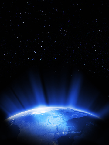Glowing「Earth in space」:スマホ壁紙(4)