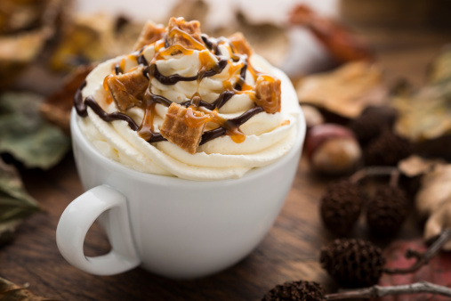 Coffee - Drink「Hot drink with Cream, Caramel Waffle pieces and Chocolate sauce」:スマホ壁紙(10)