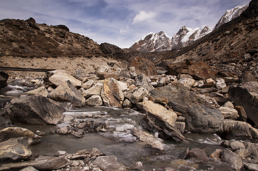 Khumbu「Mountain stream near Dzongla with Himalayan peaks behind, Everest Base Camp via Gokyo Trek, Nepal」:スマホ壁紙(15)