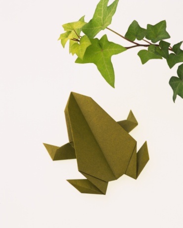 Paper Craft「origami Frog, High Angle View」:スマホ壁紙(8)