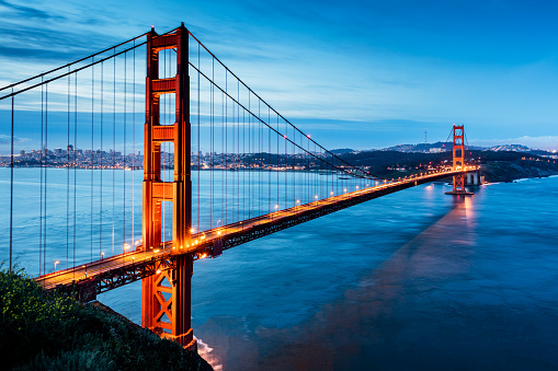 Famous Place「Golden Gate Bridge Sunrise San Francisco California USA」:スマホ壁紙(1)