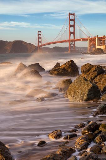 アメリカ合州国「ゴールデン ゲート ブリッジ、サンフランシスコのパノラマの長時間露光」:スマホ壁紙(1)