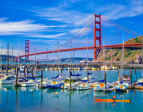 Coastline「Golden Gate Bridge with recreational boats, CA」:スマホ壁紙(19)