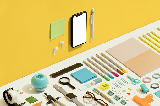 Touch Screen「Stationary flat lay on yellow and white background」:スマホ壁紙(17)