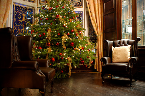 English Culture「Luxury room indoor at Christmas time」:スマホ壁紙(16)
