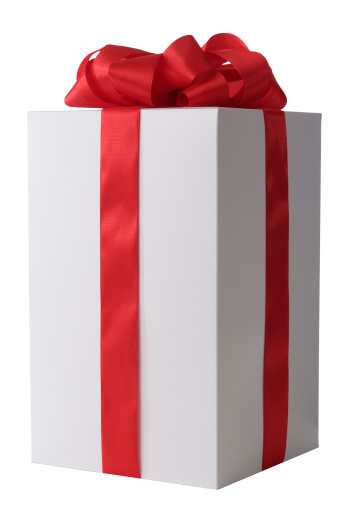 Gift「White blank gift box tied with a red ribbon bow」:スマホ壁紙(7)