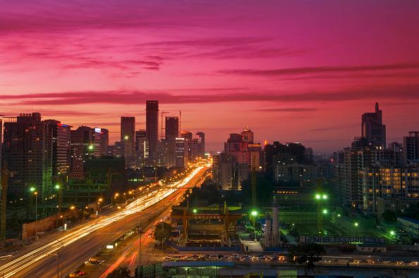 Urban Skyline「Bustling city, Dongsanhuan Ring Road nightview, CBD, Beijing, China」:写真・画像(16)[壁紙.com]