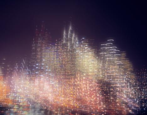 Multiple Exposure「Multiple exposure image of skyline at night」:スマホ壁紙(11)