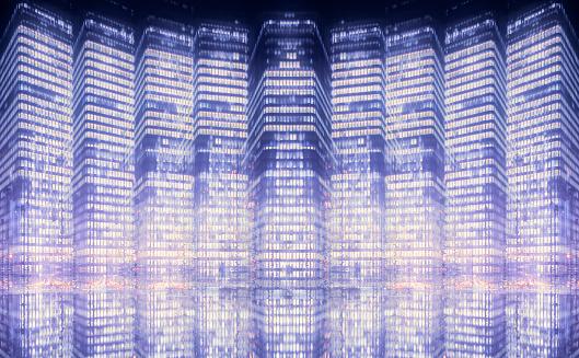 Multiple Exposure「Multiple exposure image of high-rise buildings」:スマホ壁紙(11)