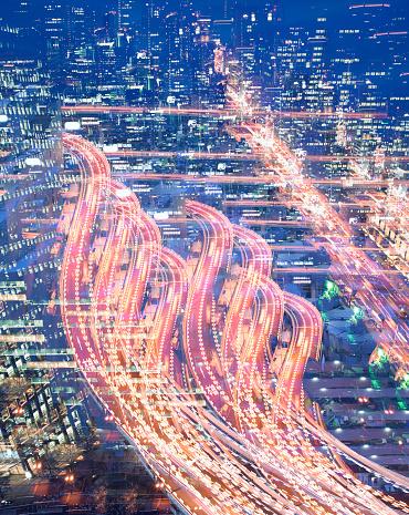 Multiple Exposure「Multiple exposure image of curved elevated highway at dusk」:スマホ壁紙(1)
