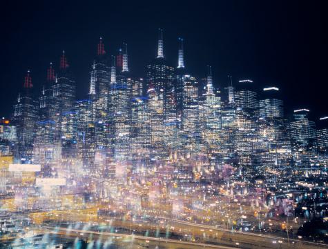 Multiple Exposure「Multiple exposure image of an illuminated skyline」:スマホ壁紙(6)