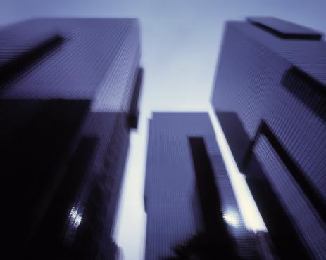 Multiple Exposure「Multiple exposure image of large office buildings」:スマホ壁紙(6)