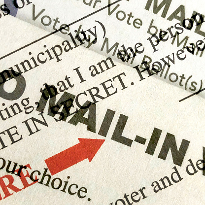 Voting Ballot「Multiple exposures of words on a mail -in ballot for the election in the United States」:スマホ壁紙(5)