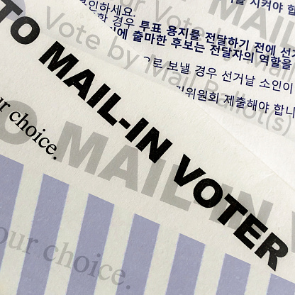 Voting Ballot「Multiple exposures of words on a mail -in ballot for the election in the United States」:スマホ壁紙(4)
