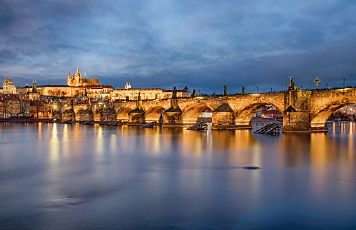 St Vitus's Cathedral「Multiple exposure of Prague and Charles Bridge over Vltava river at sunset」:スマホ壁紙(14)
