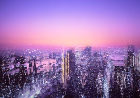 Multiple Exposure「Multiple exposure of Tokyo skyline at sunrise」:スマホ壁紙(0)