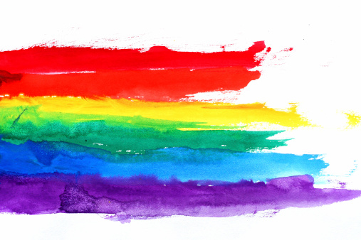 虹「ウォーターカラーのレインボー」:スマホ壁紙(18)