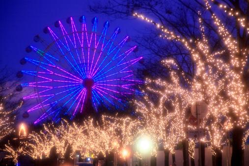 December「Ferris Wheel and Christmas Lights on Tree」:スマホ壁紙(3)