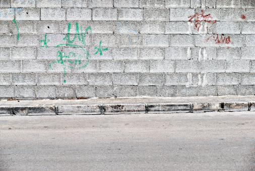 Wall - Building Feature「Old concrete grunge wall with sidewalk」:スマホ壁紙(0)