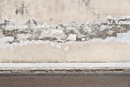 City Life「Old concrete grunge wall with sidewalk」:スマホ壁紙(0)