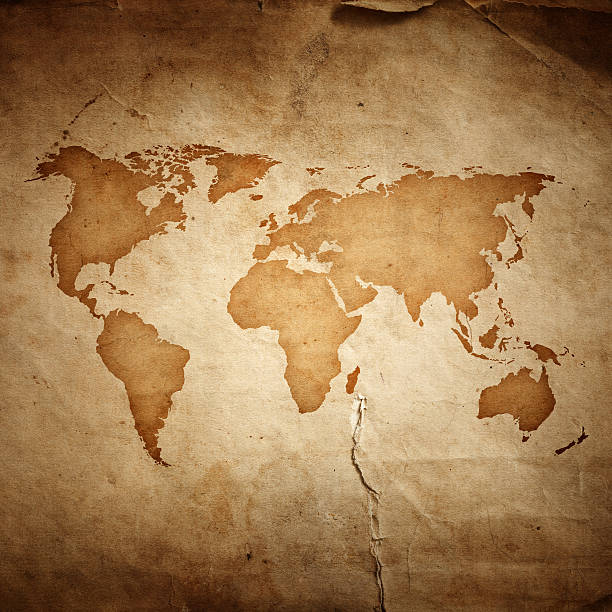 World map on aged paper texture background:スマホ壁紙(壁紙.com)