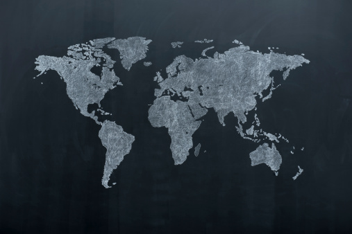 Chalk - Art Equipment「World map on blackboard」:スマホ壁紙(13)