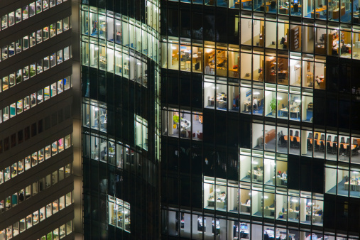 Employment And Labor「Offices in office buildings at night, Frankfurt」:スマホ壁紙(9)