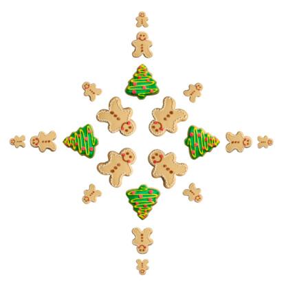 Gingerbread Cookie「Tree and Gingerbread Man Cookie Snowflake」:スマホ壁紙(2)