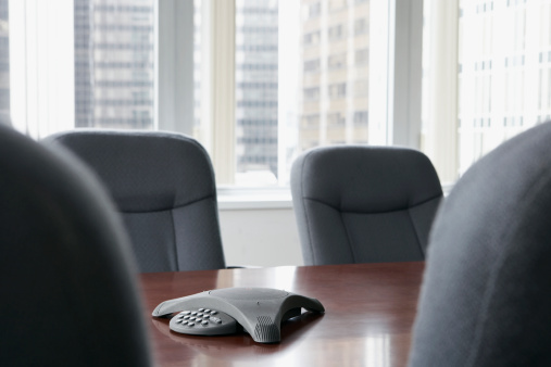 Conference Phone「Boardroom with speaker phone on table」:スマホ壁紙(1)