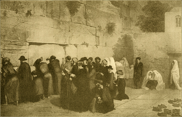 絵「Group of men and women praying at the Western Wall / Wailing Wall in the Old City of Jerusalem」:写真・画像(9)[壁紙.com]