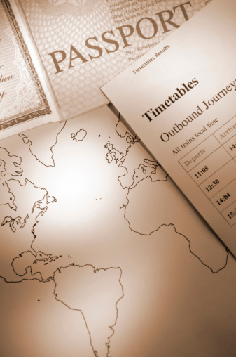 Sepia Toned「Sepia tinted image of an open passport with world map」:スマホ壁紙(3)
