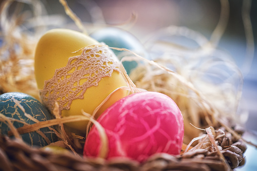 Easter Bunny「Colorful Decorated Easter Eggs in a Nest」:スマホ壁紙(1)