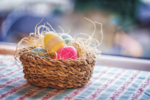 Easter Bunny「Colorful Decorated Easter Eggs in a Nest」:スマホ壁紙(0)