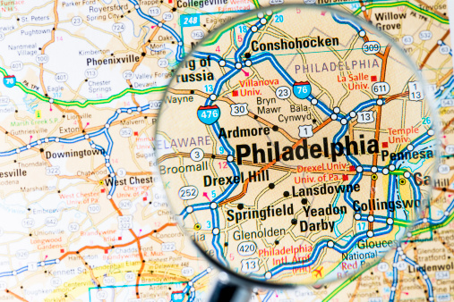 Pennsylvania「Cities under magnifying glass on map: Philadelphia」:スマホ壁紙(17)