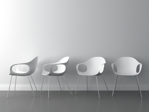 Waiting「3d modern chair on white wall」:スマホ壁紙(16)