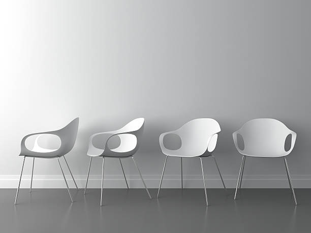 3d modern chair on white wall:スマホ壁紙(壁紙.com)
