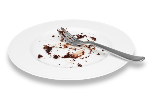 Crumb「Empty plate of cholcolate cake with fork」:スマホ壁紙(6)