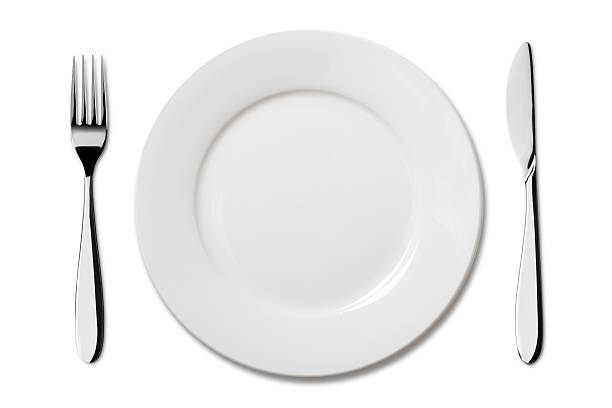 Empty plate with Knife and Fork:スマホ壁紙(壁紙.com)