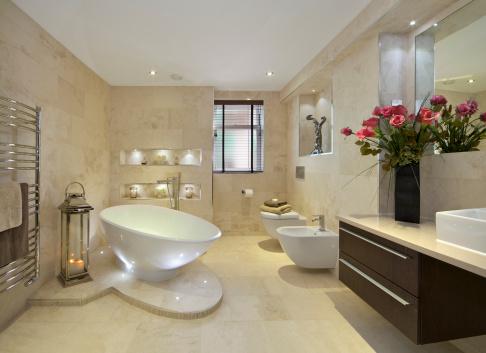 Tile「elegant bathroom with flowers」:スマホ壁紙(0)
